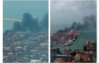 Tyres catch fire at Colombo Port