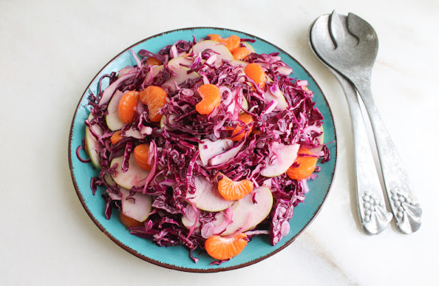 Food Lust People Love: Crunchy and light, this Red Cabbage Apple Mandarin Salad is a great side dish with seasonal cabbage, citrus and crisp apples to brighten a winter day.