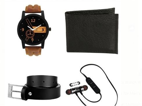 Men's Watch With Bluetooth Earphone & Accessories