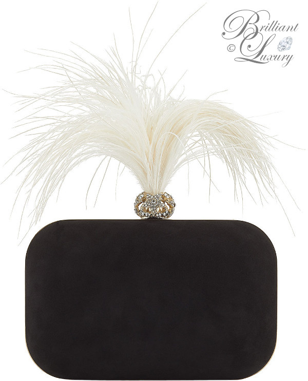 optimized pins Brilliant Luxury ♦ Jimmy Choo Cloud Black Suede Clutch Bag with Crystals and Fascinator Feathers #brilliantluxury