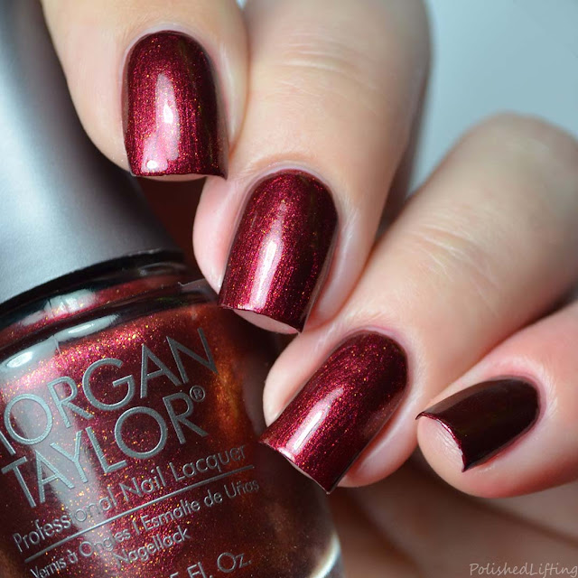 red metallic nail polish