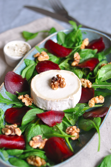 Goat Cheese and Beetroot Salad with Spicy Yoghurt Dressing