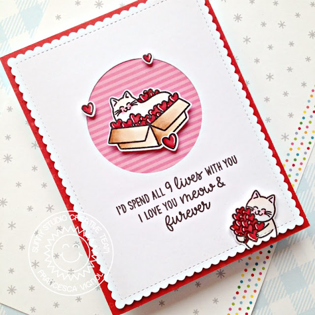 Sunny Studio Stamps: Meow & Furever Stitched Circle Dies Love Themed Card by Franci Vignoli