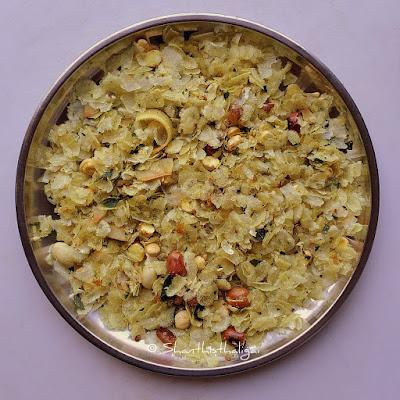 Maharashtrian style poha chivda, Kachcha poha chivda