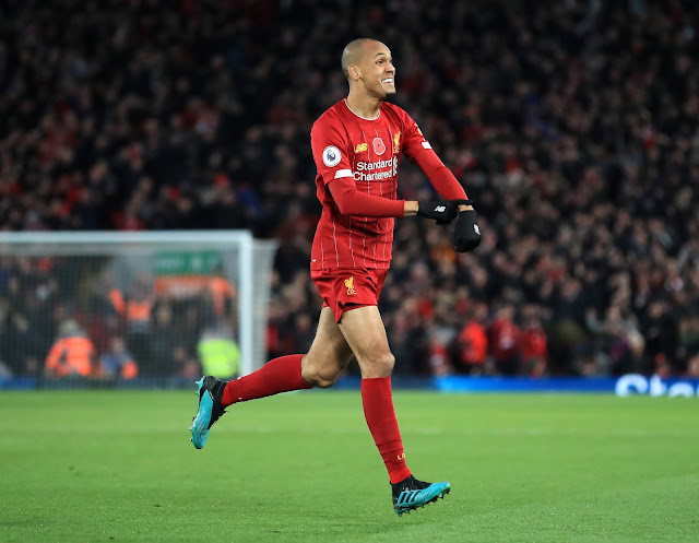 Fabinho celebrates scoring a golazo for Liverpool against Manchester city in the Premier Legaue