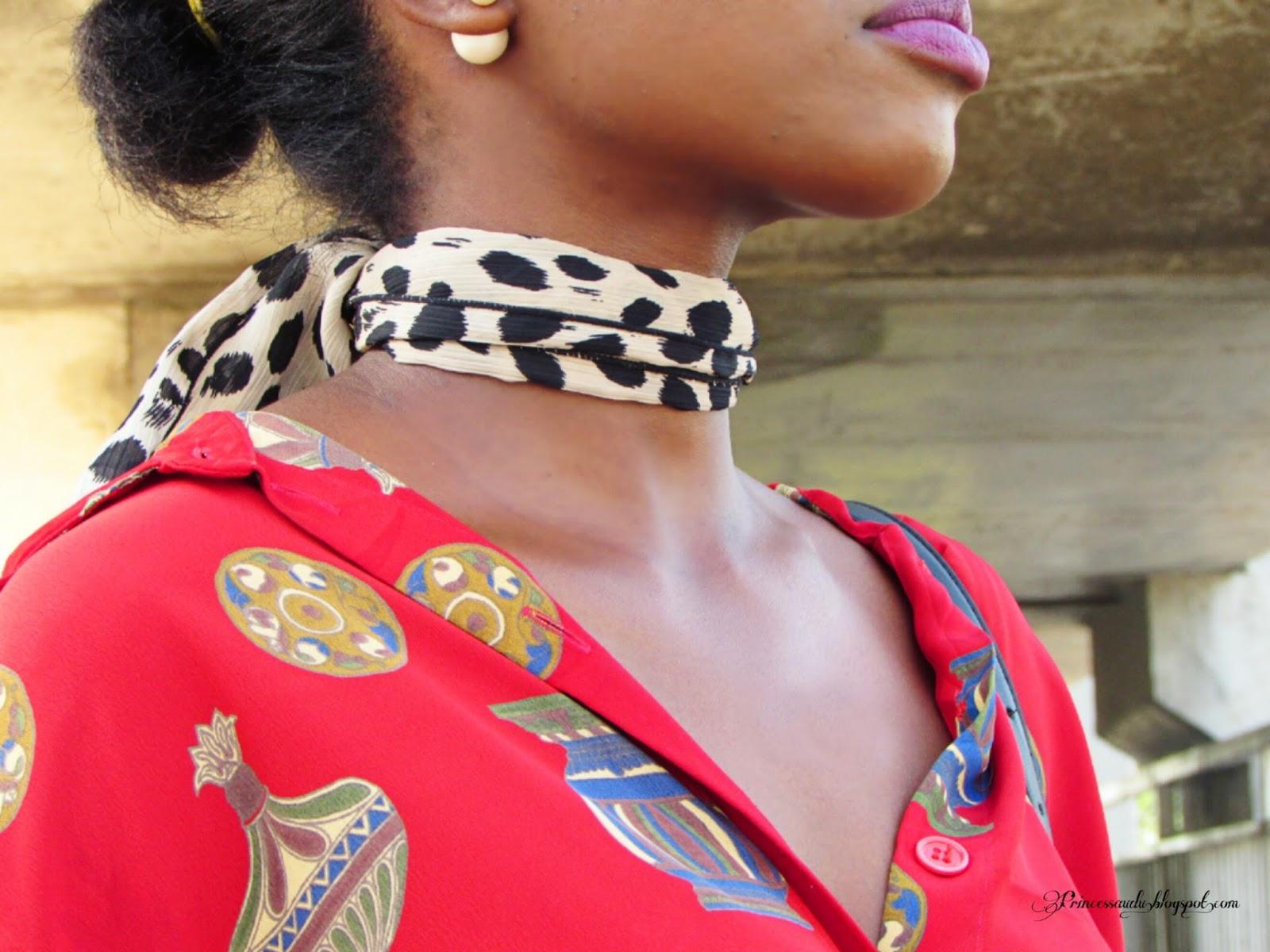 Choker trend,  leopard print,  printed shirt
