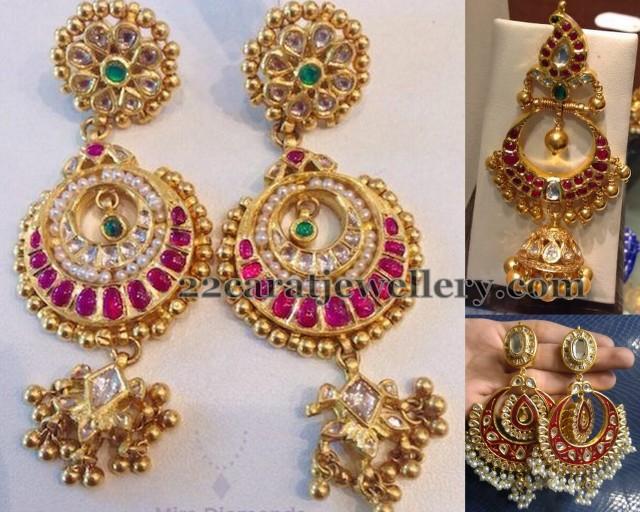 Large Grand Kundan Earrings - Jewellery Designs