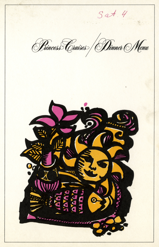 Princess Cruises dinner menu 1965 - cover