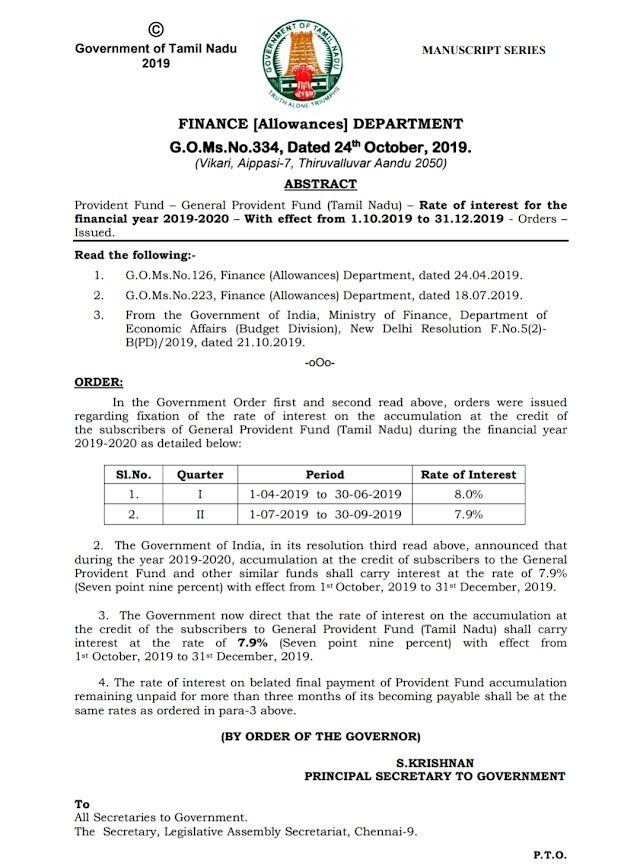 G.O 334-date 24.10.2019- General provident Rate of interest