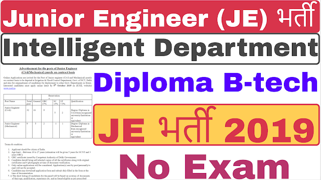 ICSIL JE Recruitment 2019 | Intelligent Department Junior Engineer Recruitment 2019