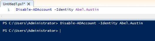 Disable-ADAccount -Identity Abel.Austin