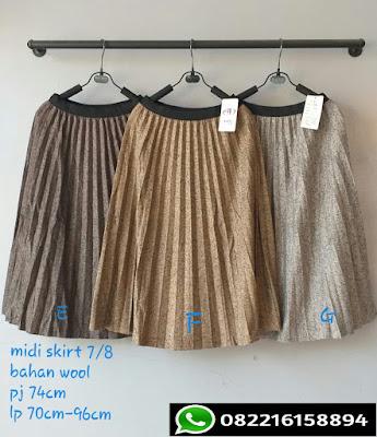 rok plisket wanita polos panjang