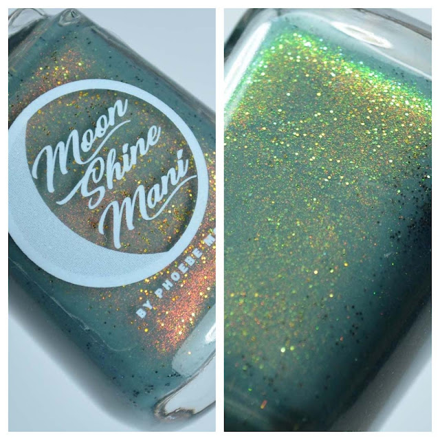 teal nail polish with shimmer and micro glitter