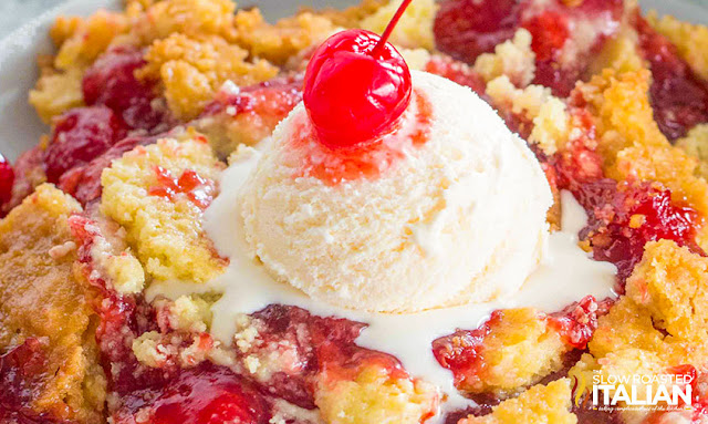 Cherry Dump Cake with ice cream and a cherry on top
