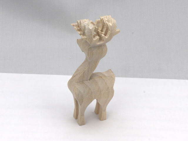 Handmade Wood Christmas Reindeer Herd - Set of Three - 3D Compound Cut