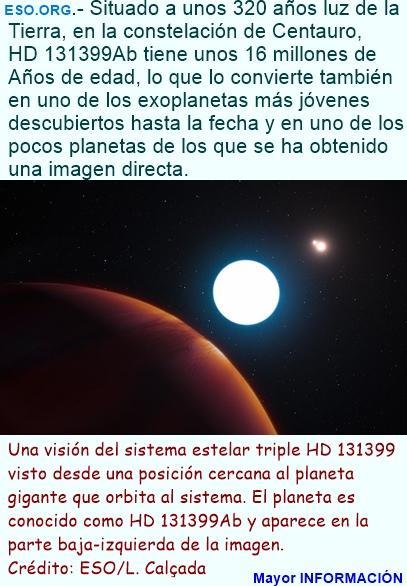 Un sorprendente planeta con tres soles