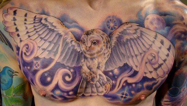 sihirli mistik baykuş dövmesi