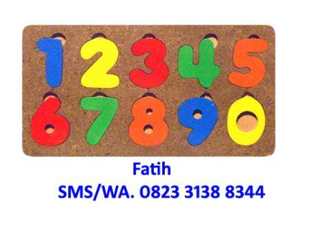 Puzzle Kayu Untuk Anak Angka Persegi