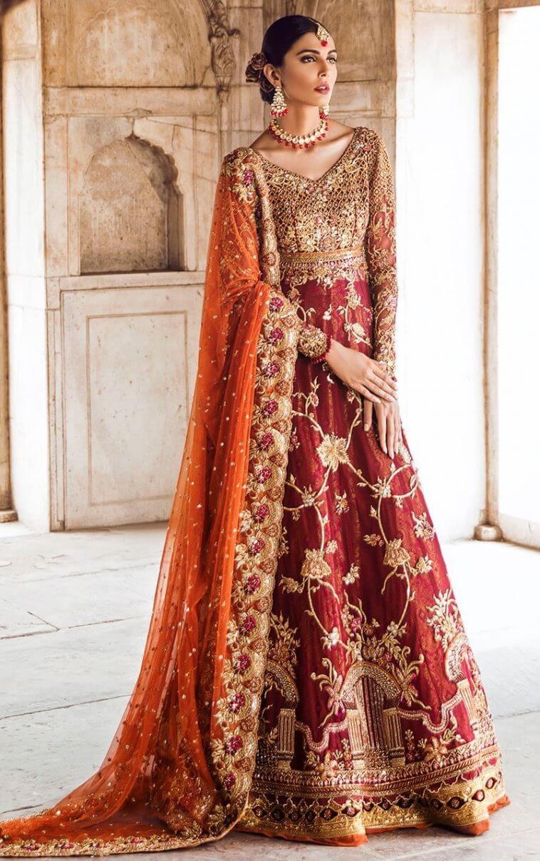 Look beautiful in deep red Pakistani bridal gown MAALA by Tena Durrani this festive season.