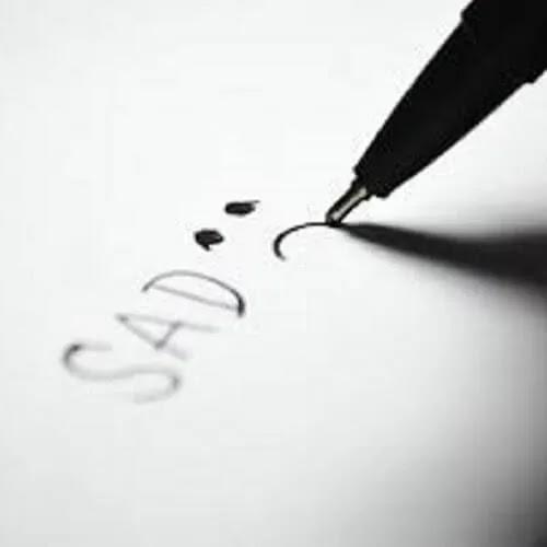 sad written on paper DP for boys