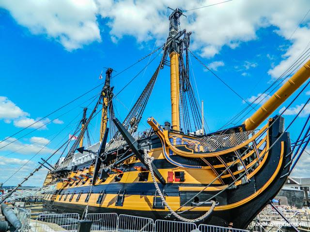 O HMS Victory, nau capitânia britânica na Batalha de Trafalgar, em exposição nos Estaleiros Históricos de Portsmouth