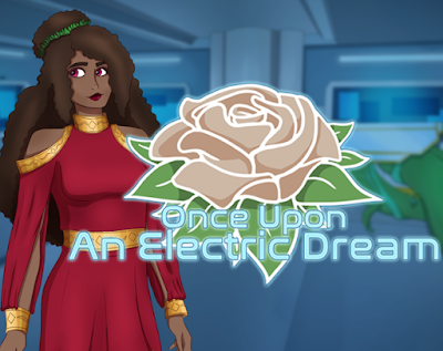 Princess ROsella, a black woman in a red dress stands next to the logo for Once Upon an Electric Dream