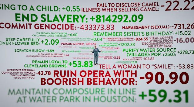 ted rodeado de datos en verde o rojo, los datos rojos dicen cosas como cometer un genocidio -433373.83 y los verdes cosas como terminar la esclavitud +814292.09