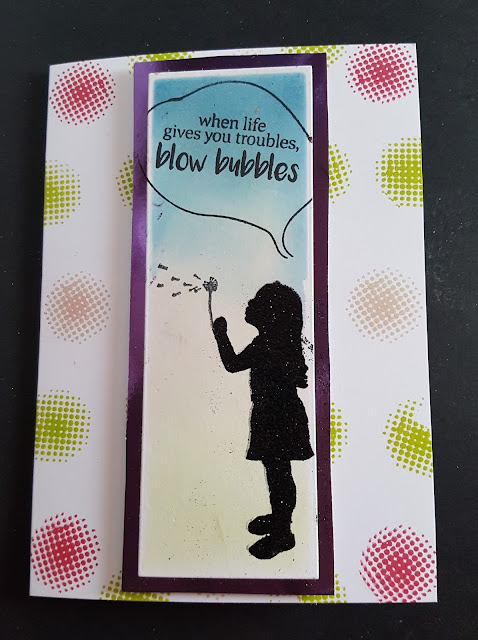 When Life gives you troubles blow bubbles - C6 hand coloured card