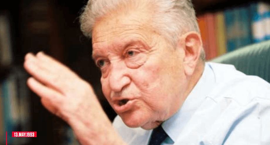 On this day in the history; Ezer Weizman is a general-in-chief of the air force, a politician, nephew of Israel's first president, Chaim Weizmann, and current president of the State of Israel, who took office on May 13, 1993 and resigned in July 2000.