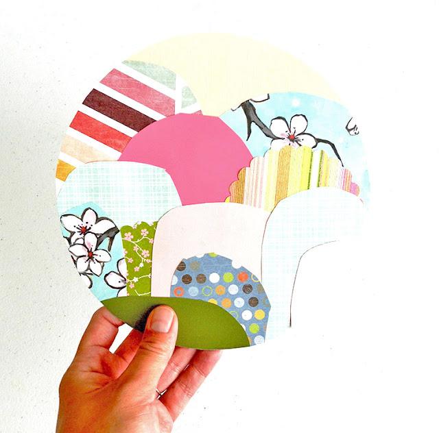 Circular landscape paper collage