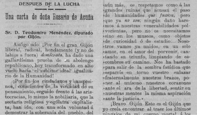 Fragmento de la carta publicada en La Federación