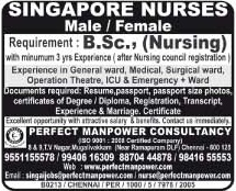 Bsc nurses recruitment to Singapore