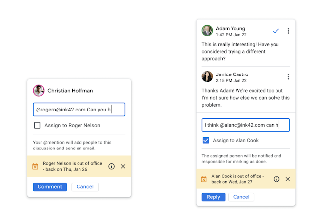 Out of office information will now display when replying to or mentioning a user in a Google Docs comment