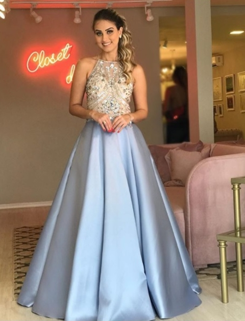 vestido de festa princesa azul claro