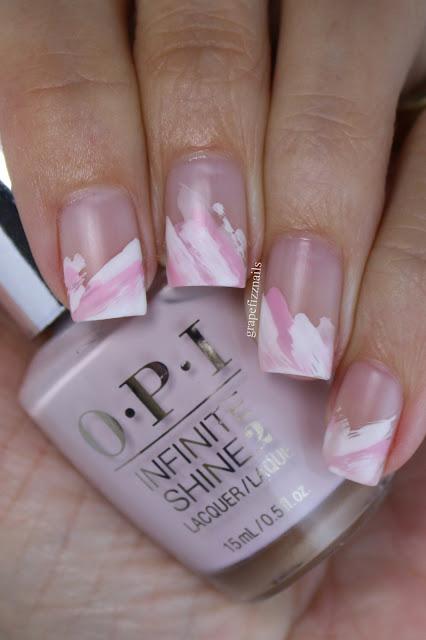 OPI Pink Abstract Nail Art