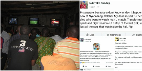 High tension cable kills 30 Manchester United fans in Calabar  (graphic photos)