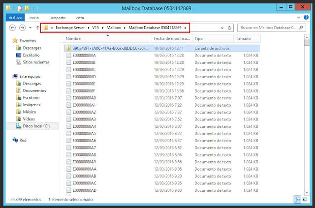 ubicación de el registro de transacciones de Microsoft Exchange 2013