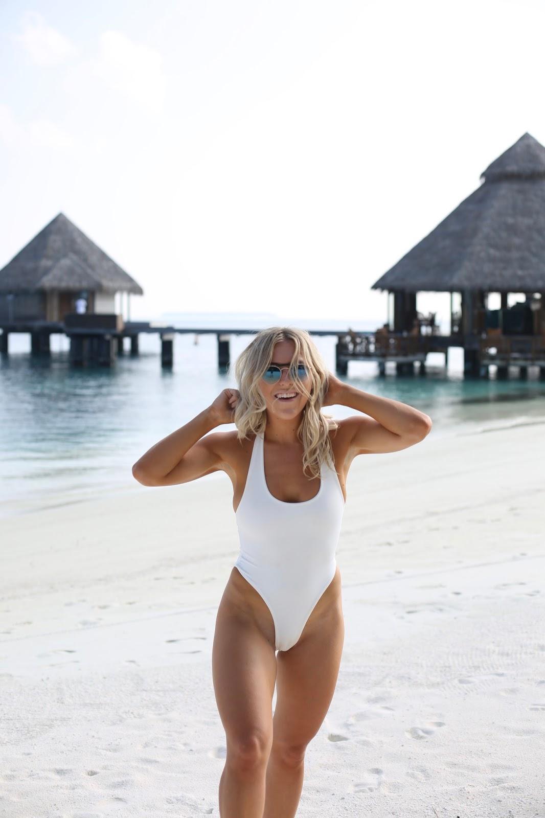 white high leg swimsuit