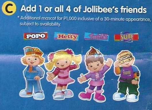 Jollibee Party Mascots: Popo, Hetty, Twirlie, Yum