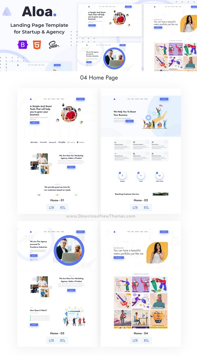 Landing Page Template for Startup & Agency