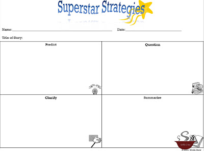 Think sheet with four quadrants. Clockwise from left corner: predict, question, summarize, clarify with clipart in bottom right corner of each box for visual cues
