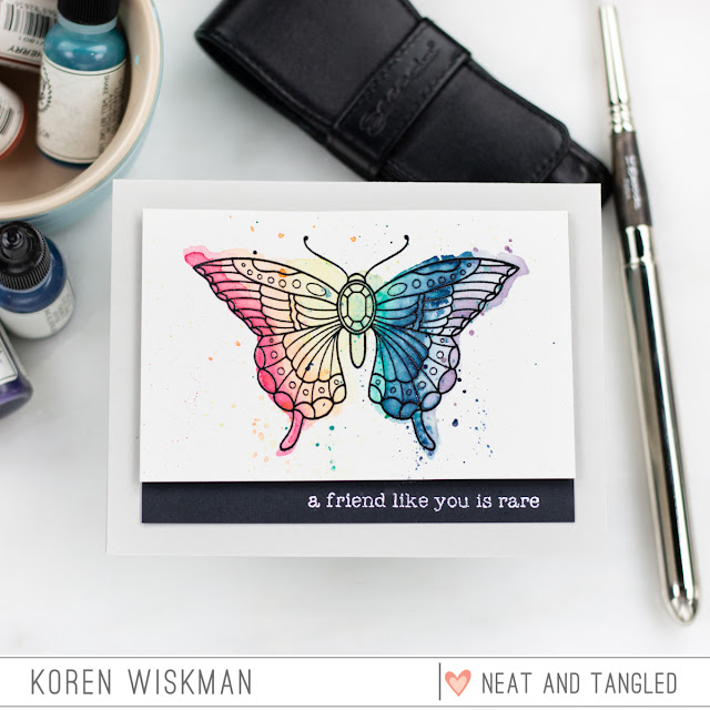 neat and tangled, stamp set, butterfly beauties, watercoloring, greeting card, stamping, heat embossing, Avery elle escoda brushes rainbow