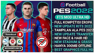 Download FTS MOD PES 2022 Android New Kits 2021/2022 Best Graphics HD & Update Transfer