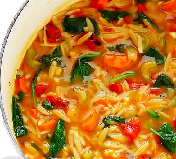 ITALIAN ORZO SPINACH SOUP #vegetarian #comfortmeal