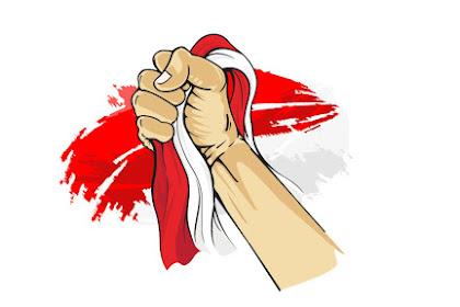 Vector Tangan Mengepal Bendera Indonesia Merah Putih PNG