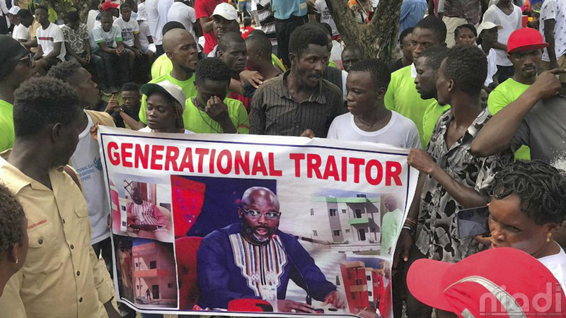 thousands protest in liberia against president george weah