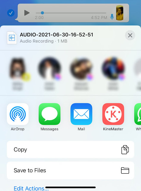 Save WhatsApp audio recording to Files app on iPhone