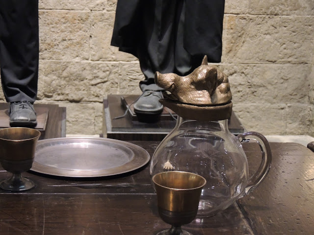 Harry Potter Studio Tour London, close up of boar head water pitcher in the great hall.
