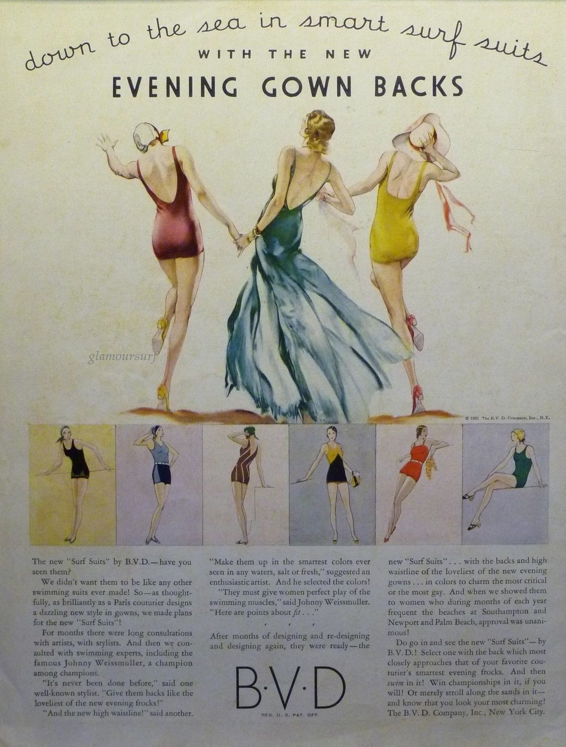 c4391baa38cb0 The year is 1931 and the ad is by swimwear maker B.V.D. In the early 1930s  the backs of bathing suits began to show more skin and ...