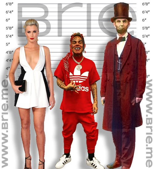 6ix9ine height comparison with Ireland Baldwin and Abraham Lincoln
